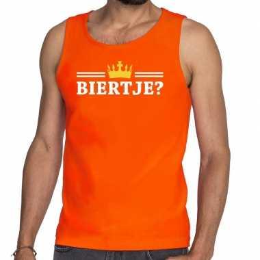 Oranje biertje kroon tanktop / mouwloos shirt heren
