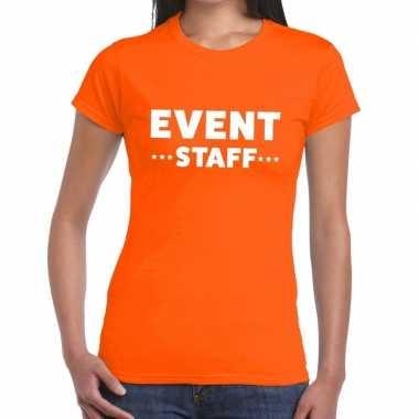 Oranje evenement shirt event staff bedrukking dames