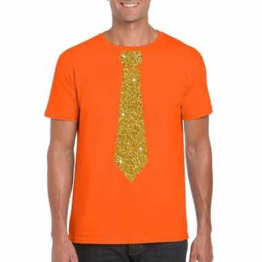 Oranje fun t shirt stropdas glitter goud heren
