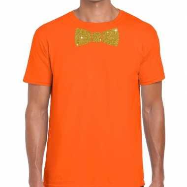 Oranje fun t shirt vlinderdas glitter goud heren