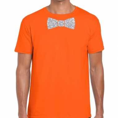Oranje fun t shirt vlinderdas glitter zilver heren