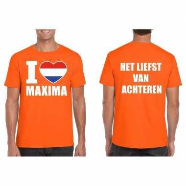 Oranje i love maxima achteren shirt heren