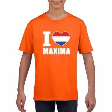 Oranje i love maxima shirt kinderen