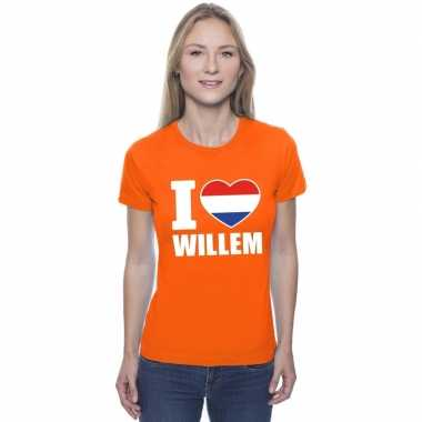 Oranje i love willem shirt dames