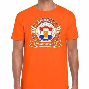 Oranje kingsday drinking team t shirt heren