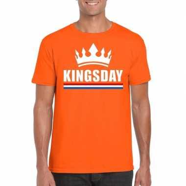 Oranje kingsday kroon shirt heren