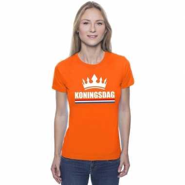 Oranje koningsdag een kroon shirt dames