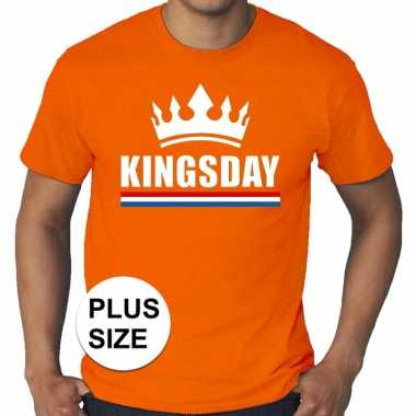 Oranje koningsdag/ kingsday kroon grote maten shirt heren