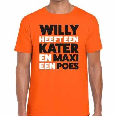 Oranje koningsdag maxi heeft een poes t shirt heren