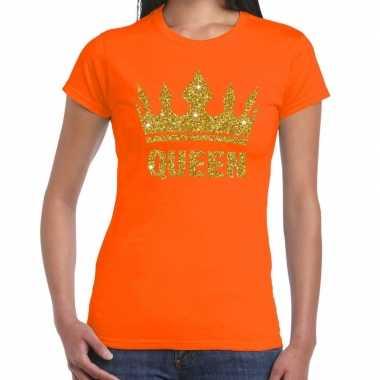 Oranje koningsdag queen shirt gouden glitters kroon dames
