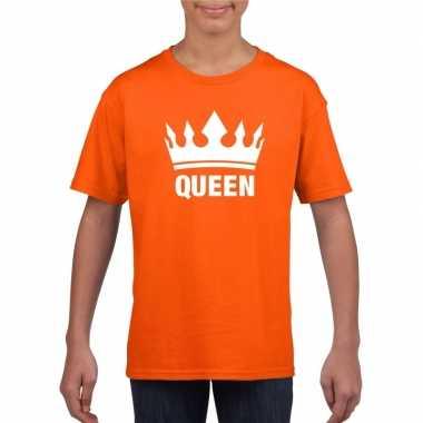 Oranje koningsdag queen shirt kroon meisjes