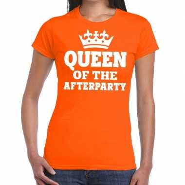 Oranje queen of the afterparty shirt dames