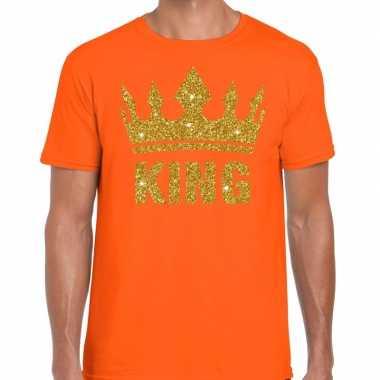 Oranje shirt heren gouden king
