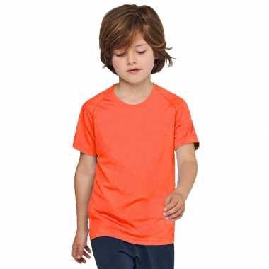 Oranje sportkleding shirt sneldrogend kinderen