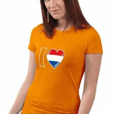 Oranje t-shirt dames love holland