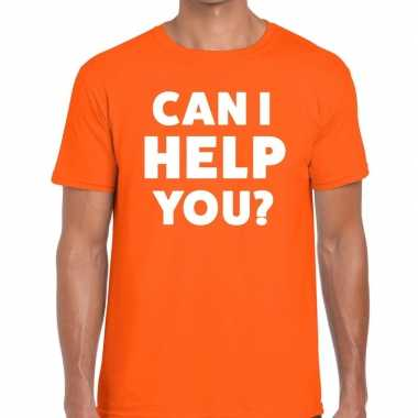Oranje tekst shirt can i help you bedrukking heren
