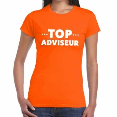 Oranje tekst shirt top adviseur bedrukking dames