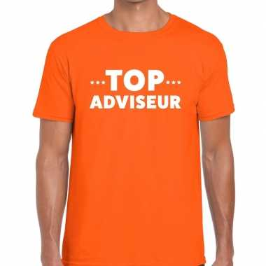 Oranje tekst shirt top adviseur bedrukking heren