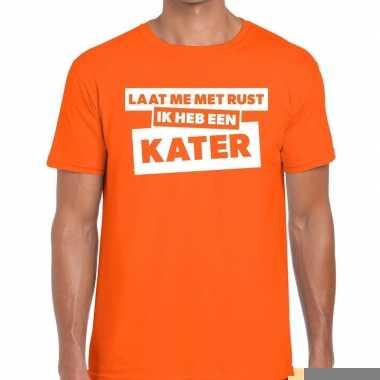 Oranje tekst shirts heren