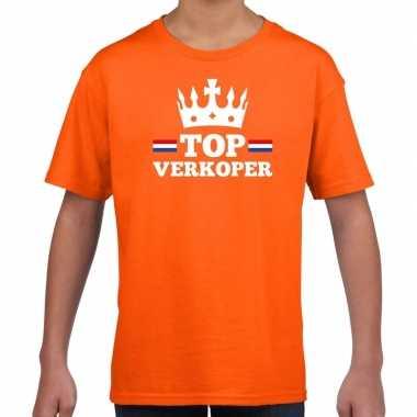 Oranje top verkoper kroontje t shirt kinderen