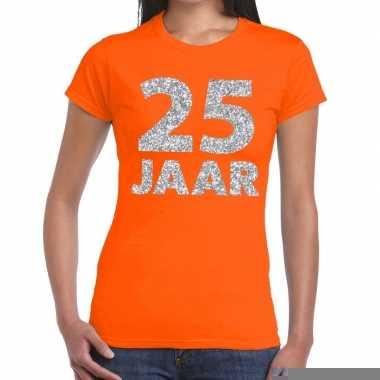 Oranje vijfentwintig jaar verjaardag shirt dames zilveren bedrukking