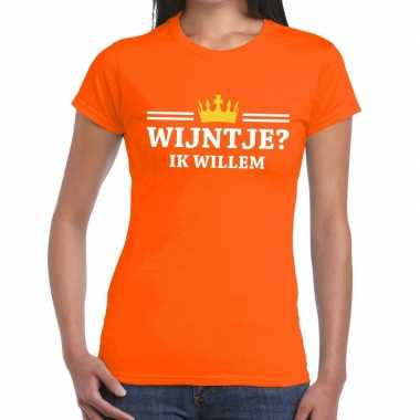 Oranje wijntje ik willem shirt dames