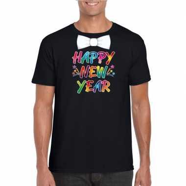 Oud nieuw t shirt happy new year vlinderdas zwart heren