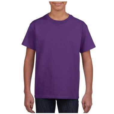 Paars basic t shirt ronde hals kinderen / unisex katoen
