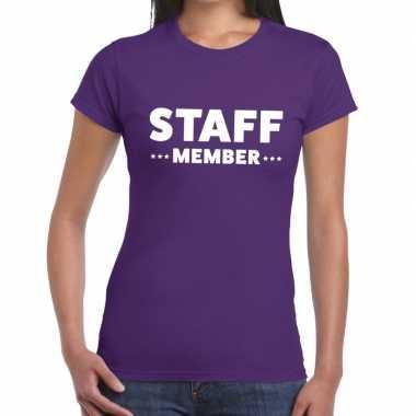 Paars crew shirt staff member bedrukking dames
