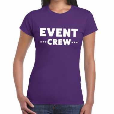 Paars evenement shirt event crew bedrukking dames