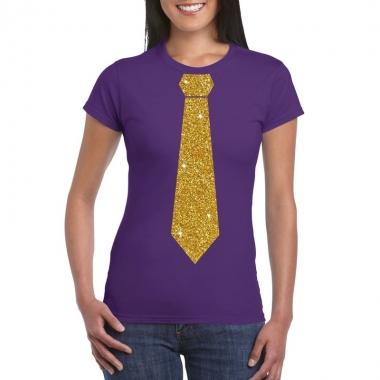 Paars fun t shirt stropdas glitter goud dames