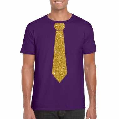 Paars fun t shirt stropdas glitter goud heren