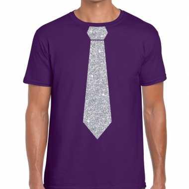 Paars fun t shirt stropdas glitter zilver heren