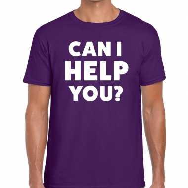 Paars tekst shirt can i help you bedrukking heren