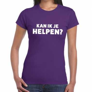 Paars tekst shirt kan ik je helpen bedrukking dames