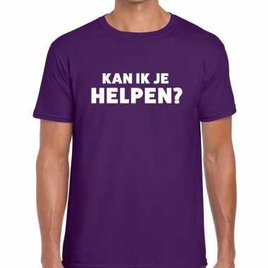Paars tekst shirt kan ik je helpen bedrukking heren