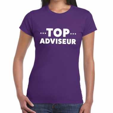 Paars tekst shirt top adviseur bedrukking dames