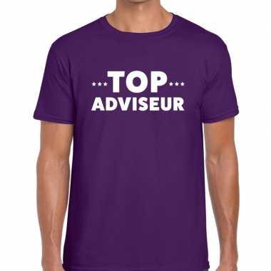 Paars tekst shirt top adviseur bedrukking heren