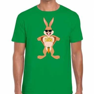 Paas t shirt stoere paashaas groen heren
