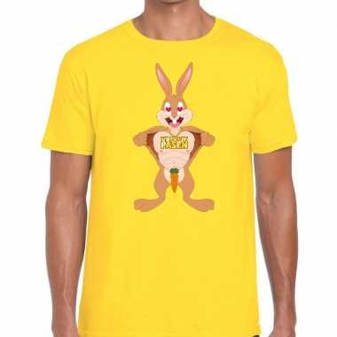 Paas t shirt verliefde paashaas geel heren