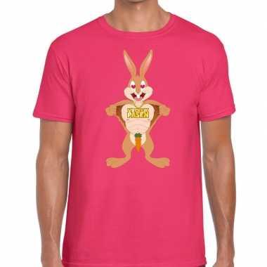 Paas t shirt verliefde paashaas roze heren