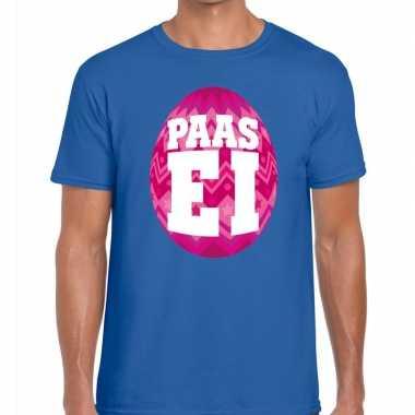 Paasei t shirt blauw roze ei heren
