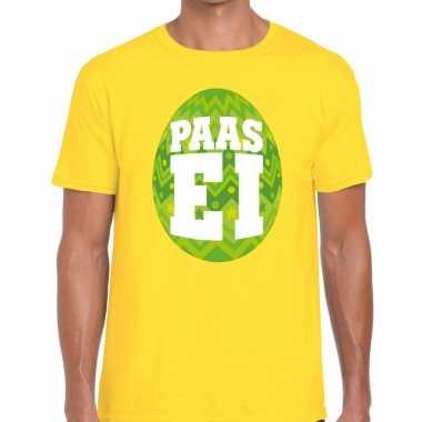 Paasei t shirt geel groen ei heren