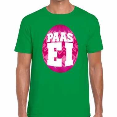 Paasei t shirt groen roze ei heren