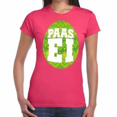 Paasei t shirt roze groen ei dames