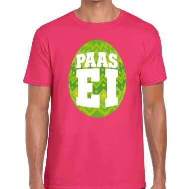 Paasei t shirt roze groen ei heren