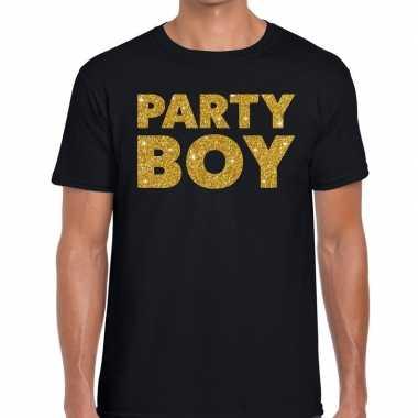 Party boy glitter tekst t shirt zwart heren