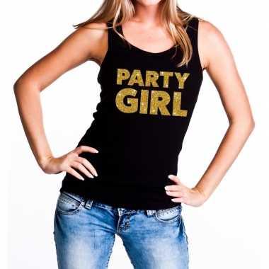 Party girl glitter tanktop / mouwloos shirt zwart dames