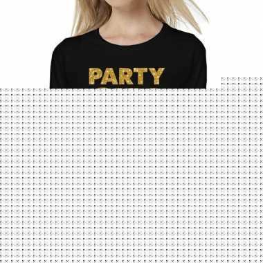Party girl goud glitter t shirt long sleeve zwart dames