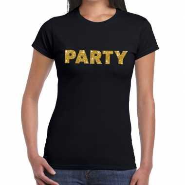 Party goud glitter tekst t shirt zwart dames